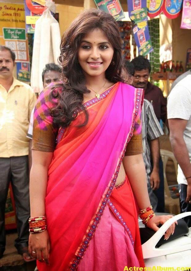Glamorous Photos Of Anjali In Red Half Saree (1)