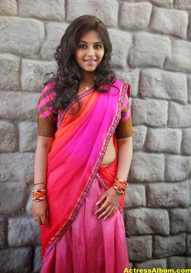 Glamorous Photos Of Anjali In Red Half Saree (5)