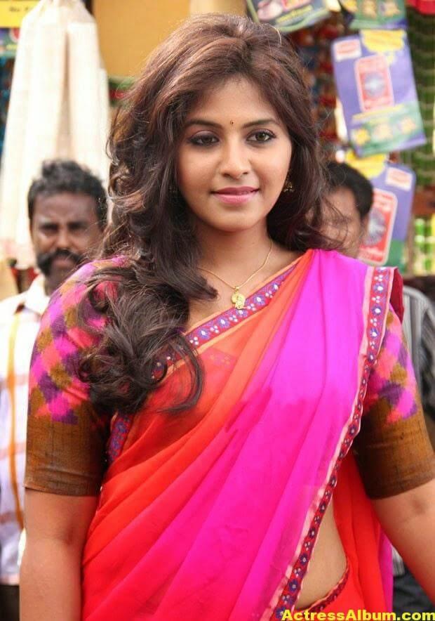 Glamorous Photos Of Anjali In Red Half Saree (6)