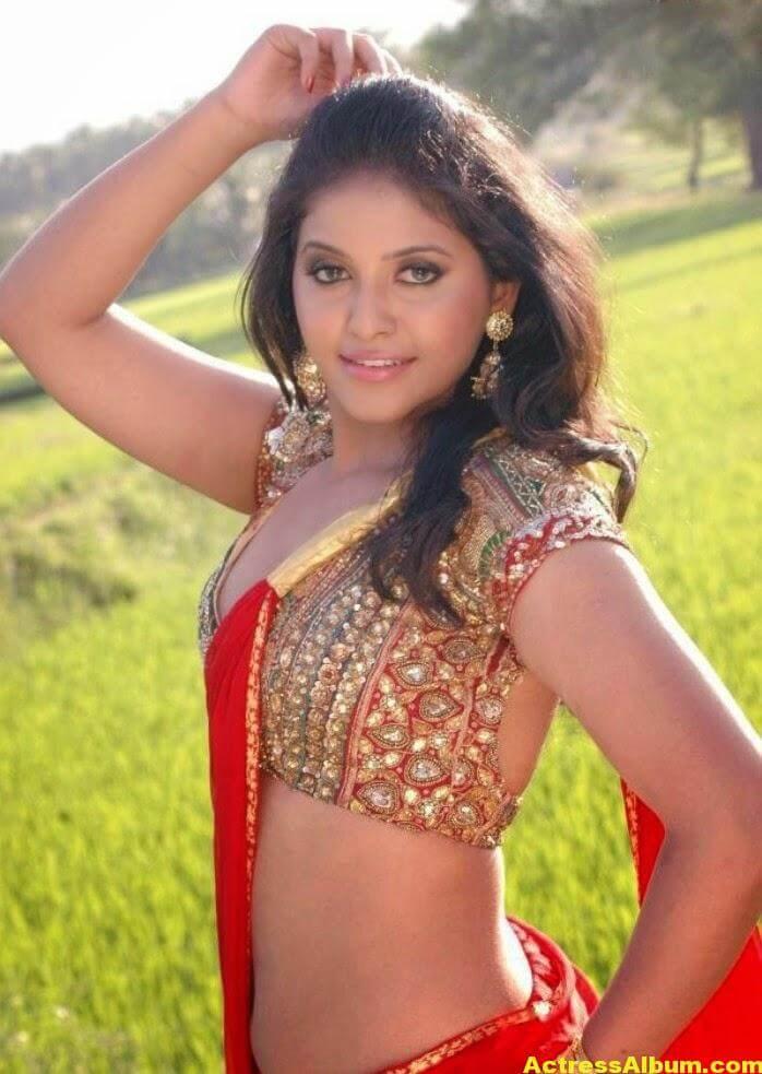 Heroine Anjali Hot Photos In Red Saree (1)