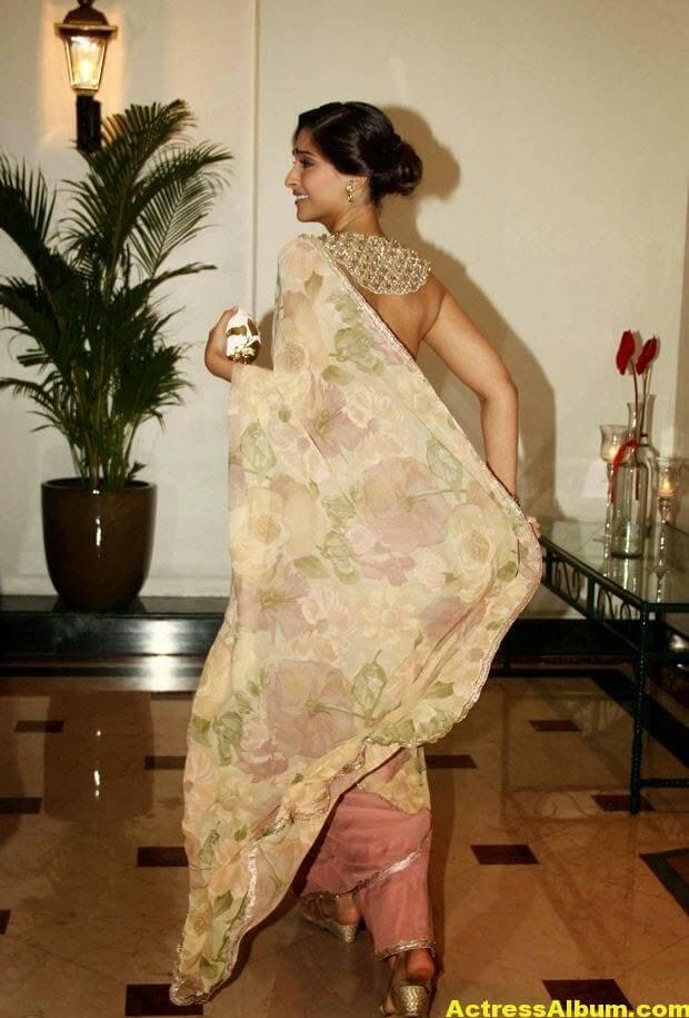Hot Photos Sonam Kapoor In Designer Pink Saree (4)