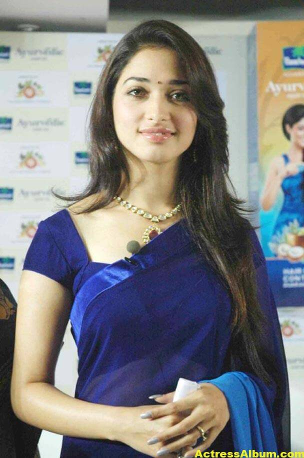 Milky Beauty Tamanna Photos In Blue Saree 1