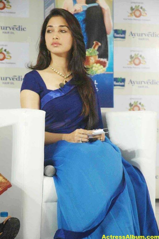 Milky Beauty Tamanna Photos In Blue Saree 2