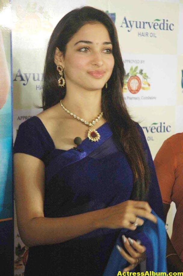 Milky Beauty Tamanna Photos In Blue Saree 3
