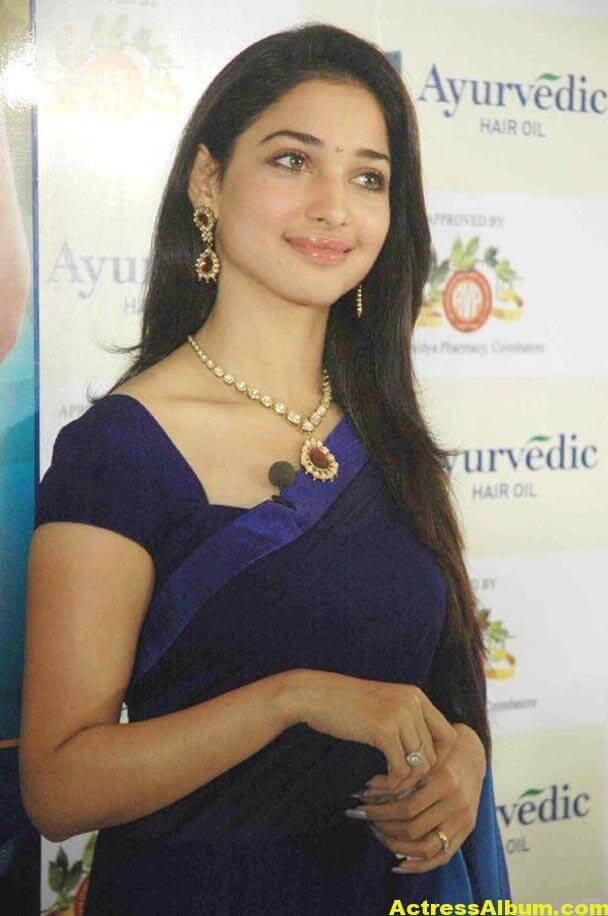 Milky Beauty Tamanna Photos In Blue Saree 4