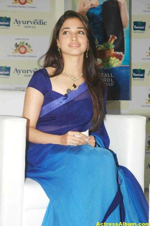 Milky Beauty Tamanna Photos In Blue Saree 5
