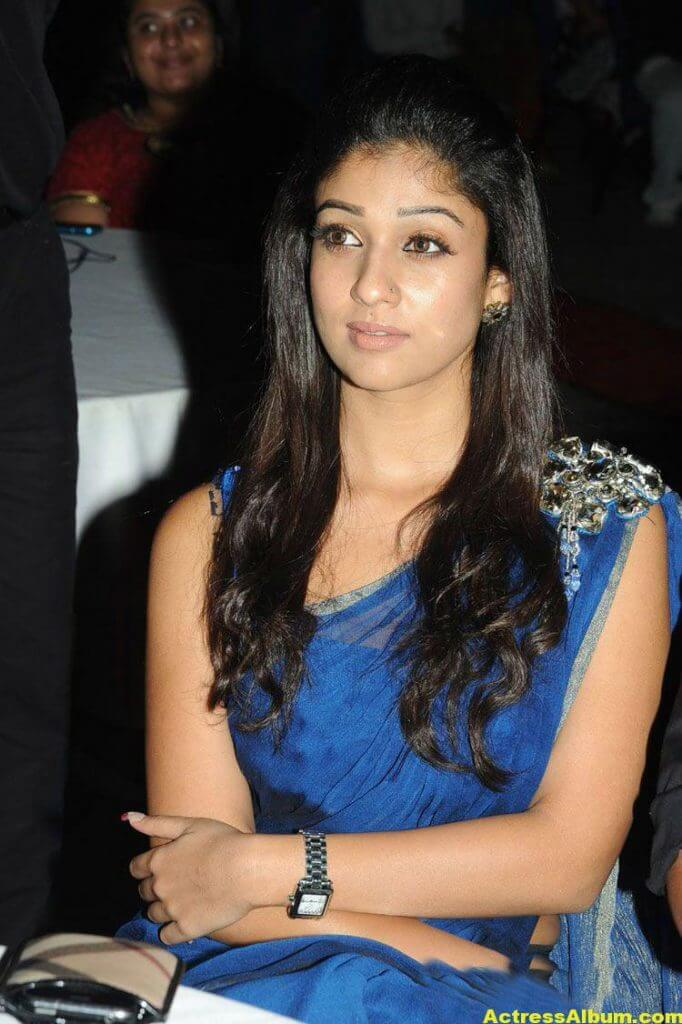 Nayantara Smiling Photos In Blue Saree0