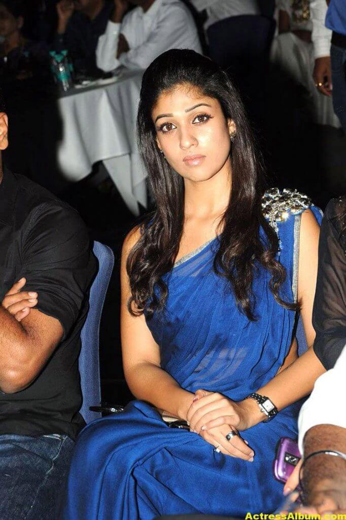 Nayantara Smiling Photos In Blue Saree3
