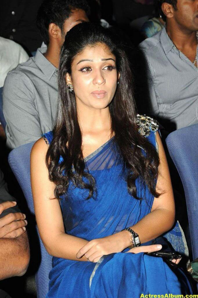 Nayantara Spicy in Blue Saree South Scope Cine Awards 2
