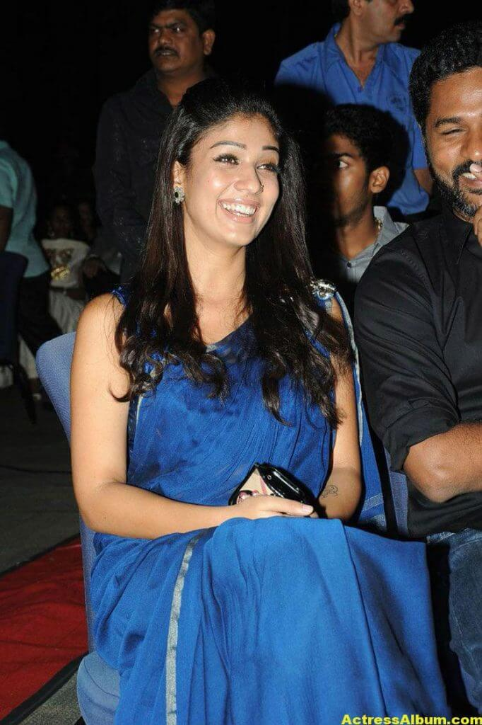 Nayantara Spicy in Blue Saree South Scope Cine Awards
