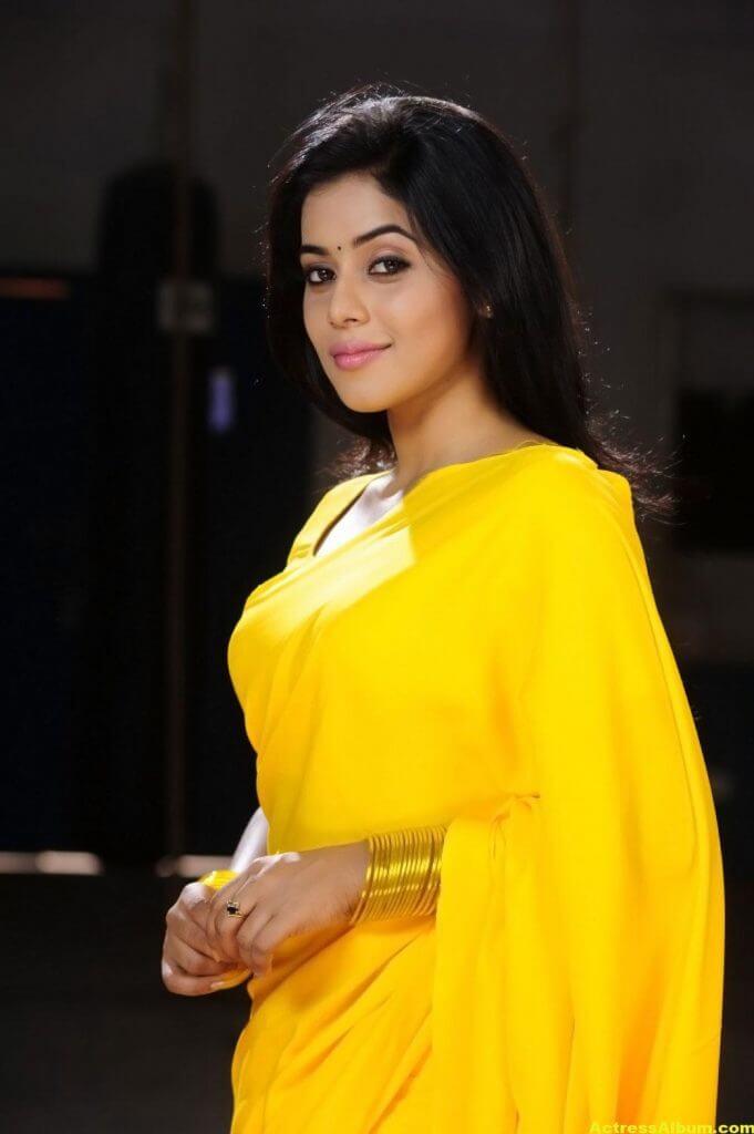 Poorna Hot Looking Photos In Yellow Saree (1)
