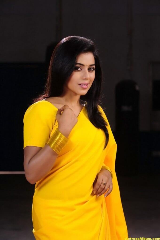 Poorna Hot Looking Photos In Yellow Saree (9)
