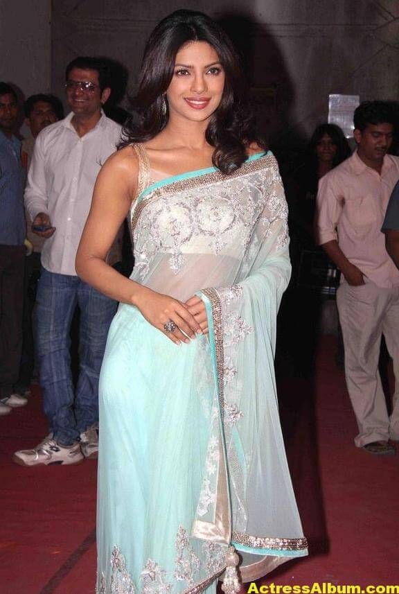 Priyanka Chopra Hot Photos In Sky Blue Saree 1