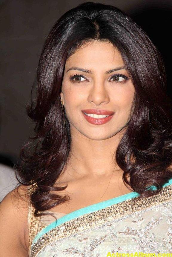 Priyanka Chopra Hot Photos In Sky Blue Saree 2
