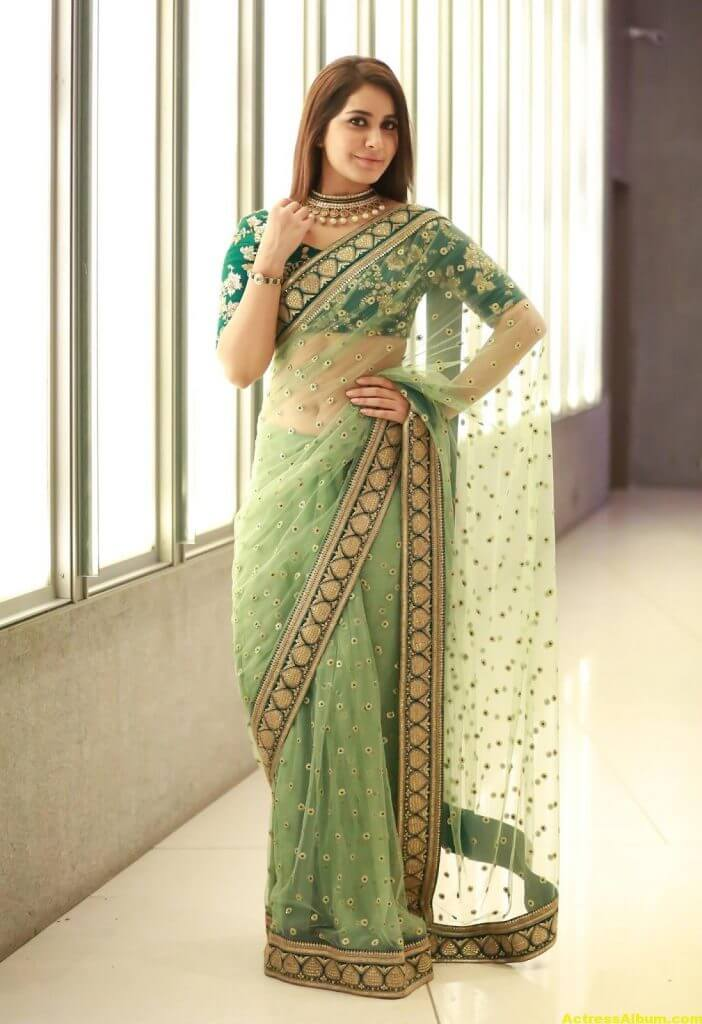 Rashi Khanna Spicy Photos In Green Saree (1)