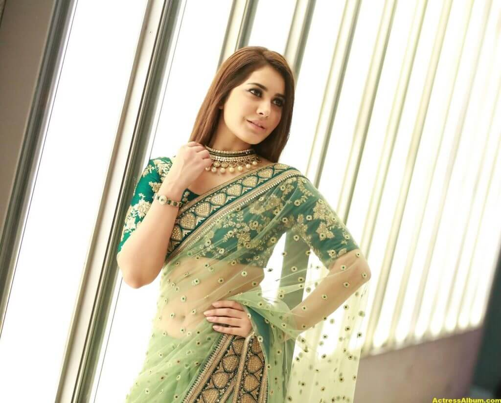 Rashi Khanna Spicy Photos In Green Saree (2)