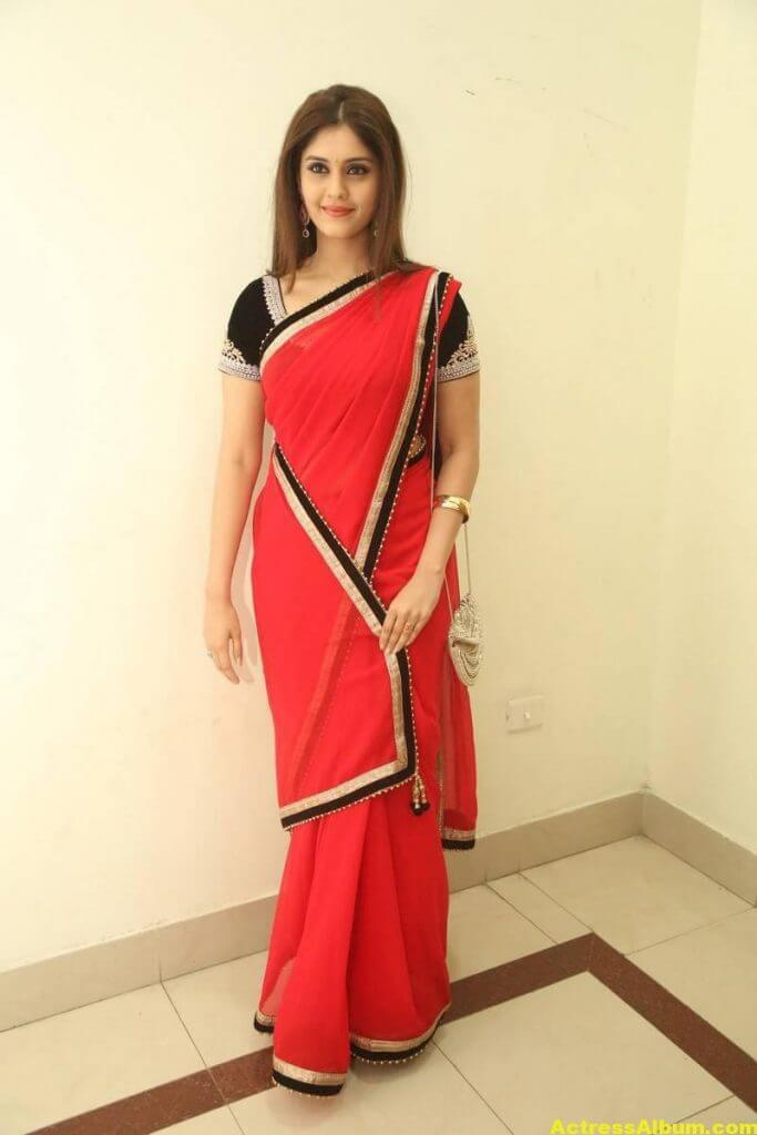 Surabhi Hot Photos In Red Saree (3)