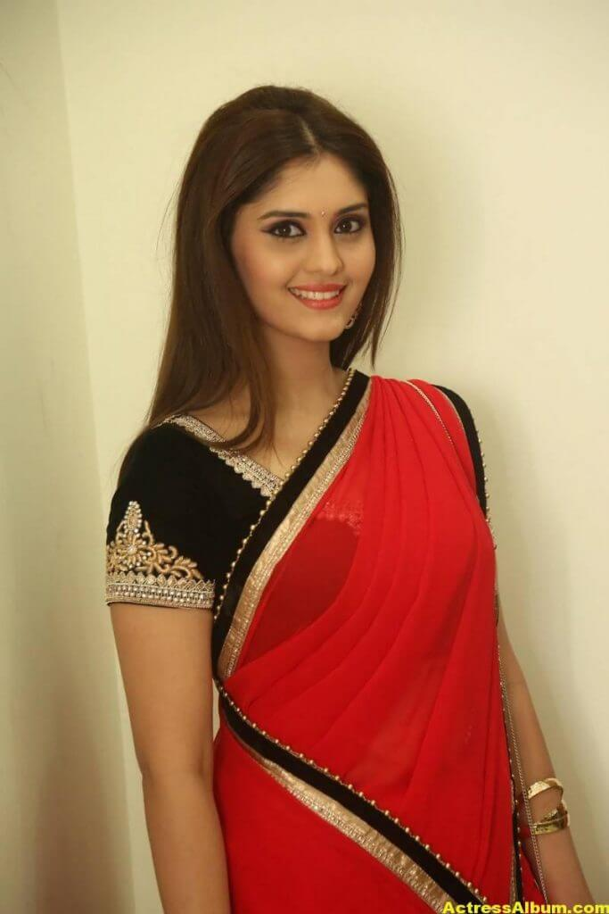 Surabhi Hot Photos In Red Saree (5)