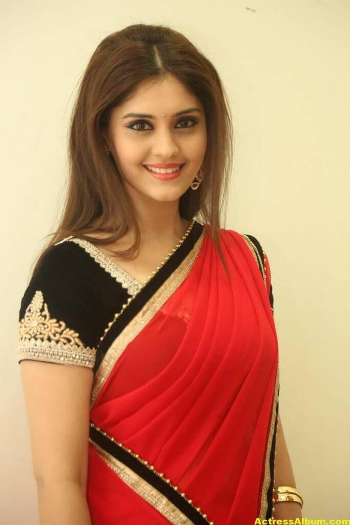 Surabhi Hot Photos In Red Saree (6)