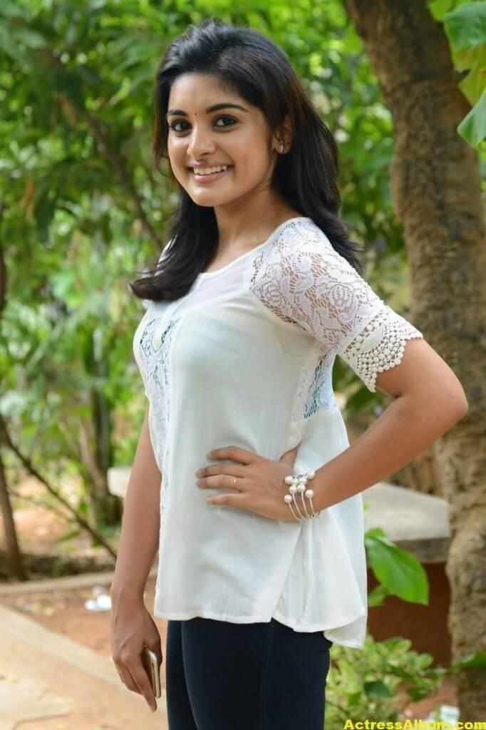 Telugu Actress Niveda Thomas Photos In White Dress 1