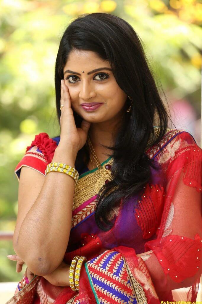 Telugu Tv ACtress Mounica Hot Photos In Red Saree (10)