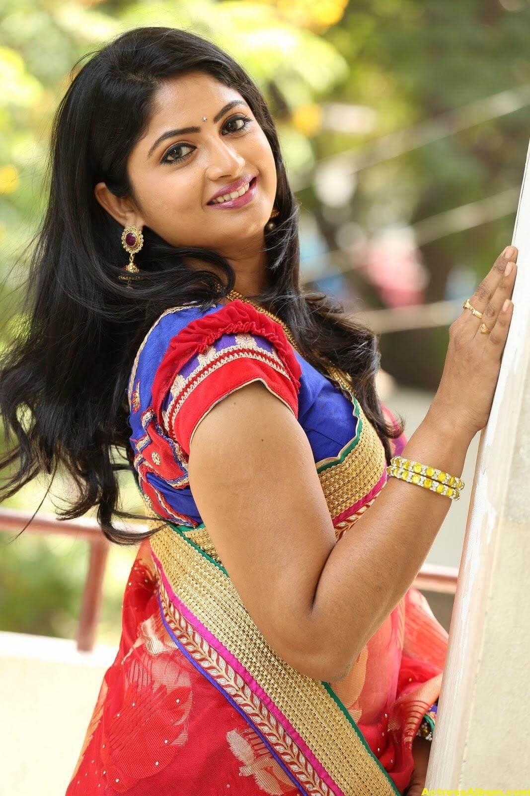 Telugu Tv Actress Mounica Hot Photos In Red Saree -7885