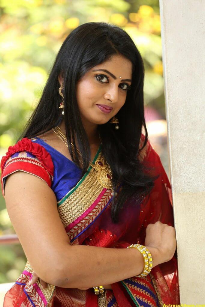 Telugu Tv ACtress Mounica Hot Photos In Red Saree (9)
