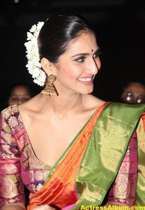 Vaani Kapoor Spicy Look Photos In Green Saree (5)