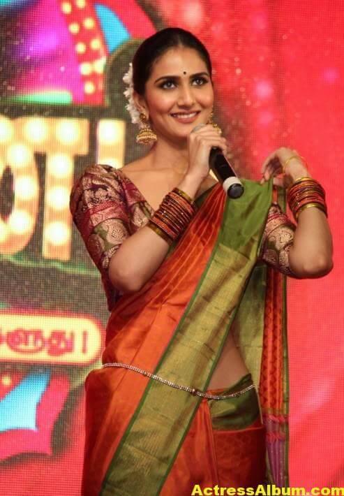 Vaani Kapoor Spicy Look Photos In Green Saree (7)