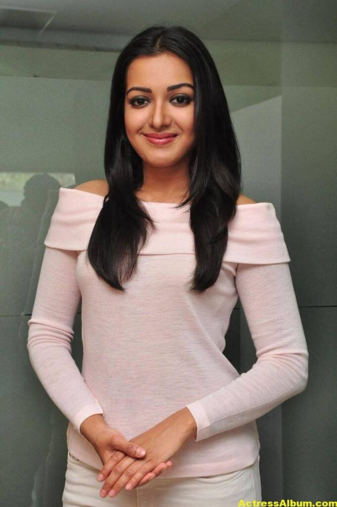 Actress Catherine Tresa Hot In White Dress 1