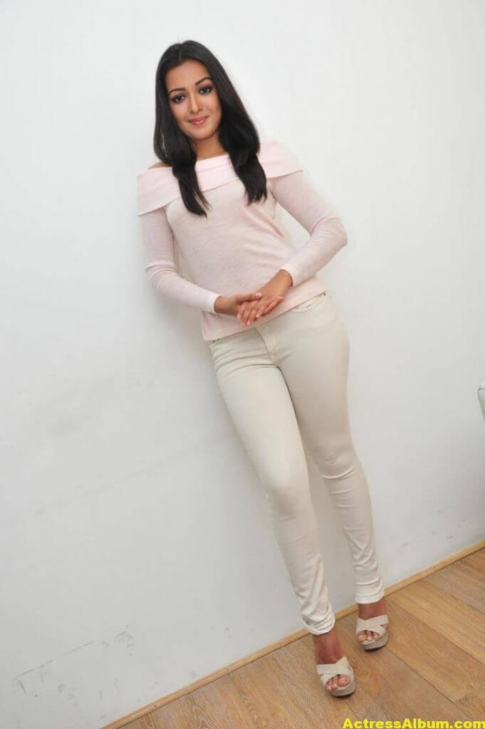 Actress Catherine Tresa Hot In White Dress 2