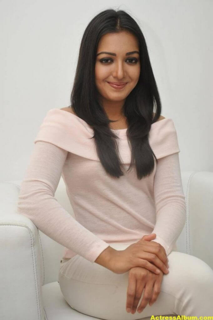 Actress Catherine Tresa Hot In White Dress 5