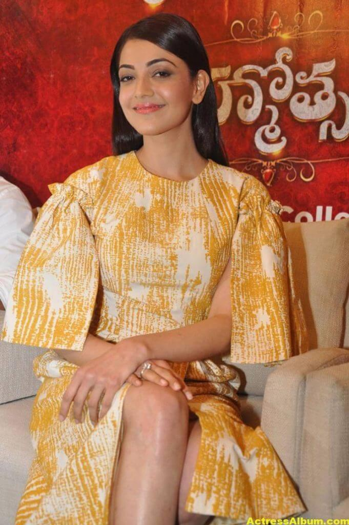 Actress Kajal Aggarwal Gallery In Yellow Dress 1
