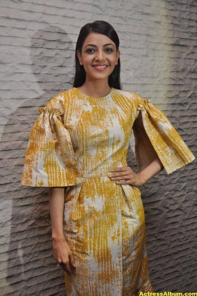 Actress Kajal Aggarwal Gallery In Yellow Dress 3