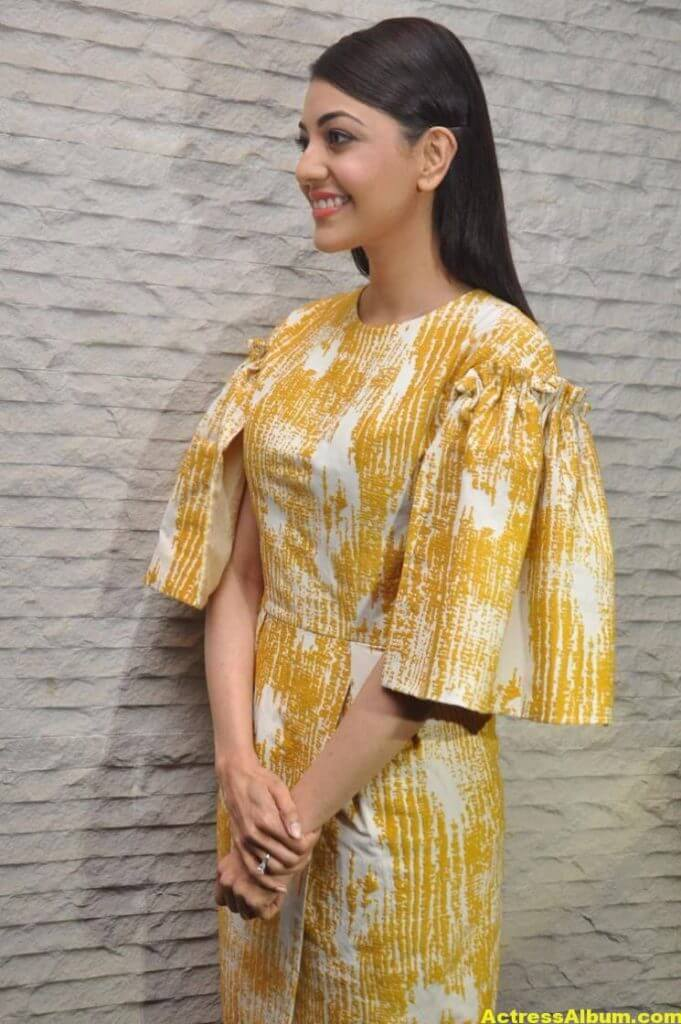 Actress Kajal Aggarwal Gallery In Yellow Dress 4
