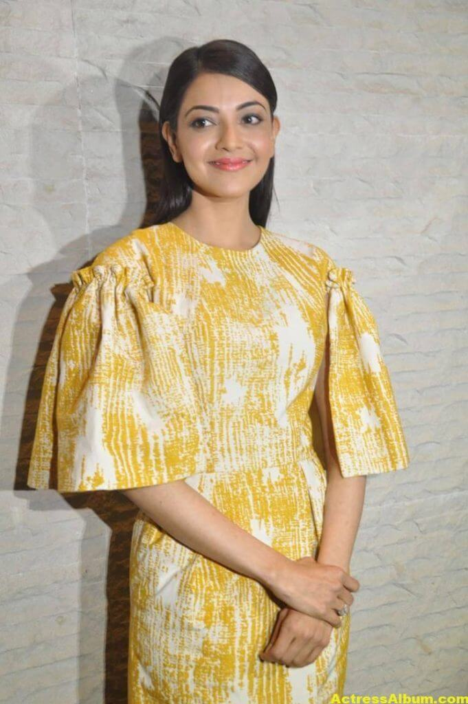 Actress Kajal Aggarwal Gallery In Yellow Dress 5