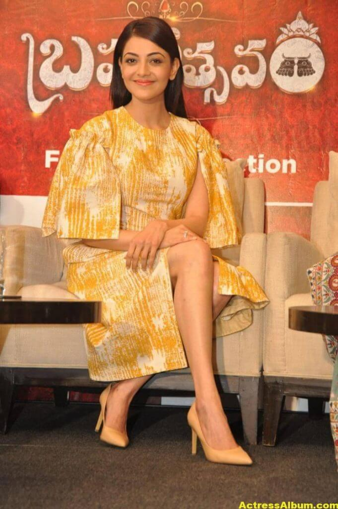 Actress Kajal Aggarwal Gallery In Yellow Dress 6