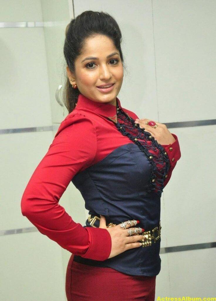 Actress Madhavi Latha Cute Stills In Red Dress