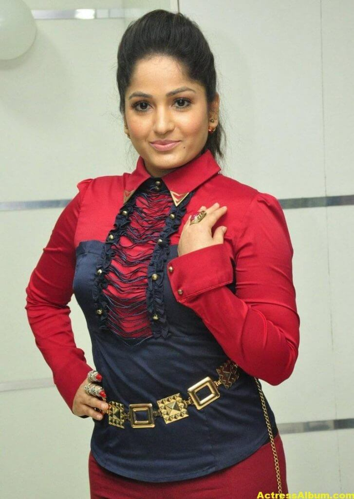 Madhavi Latha In Red Dress