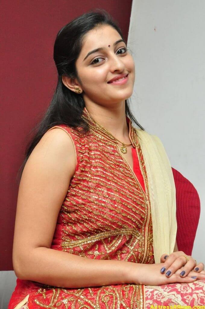 Actress Mouryaani Photos In Red Dress 5
