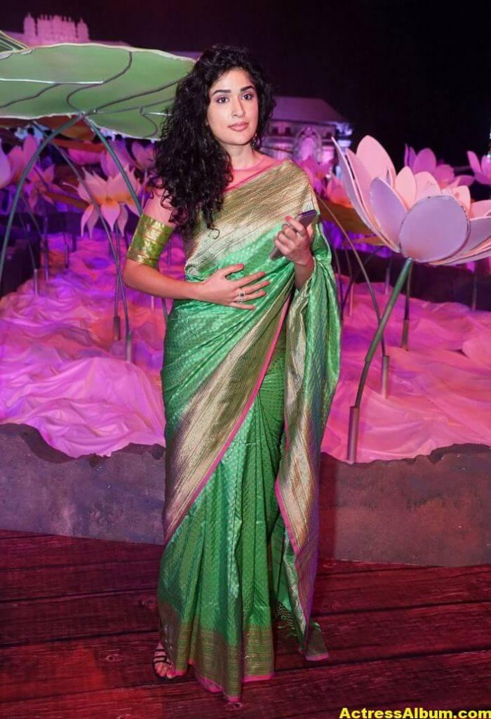 Anjala Zaveri Hot Photos In Green Saree (2)