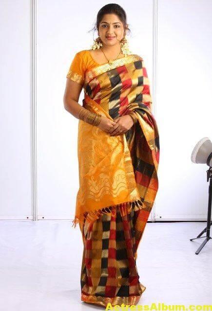 Anjana Haridas Hot Navel Show Photos In Yellow Saree (1)