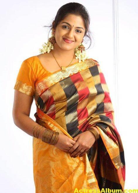 Anjana Haridas Hot Navel Show Photos In Yellow Saree (3)