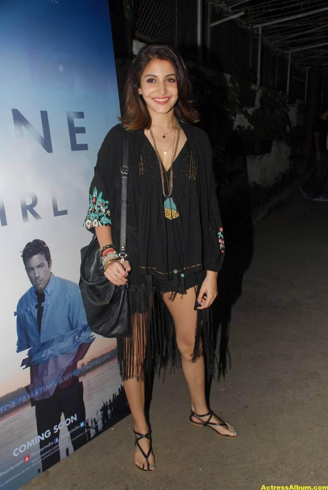 Anushka Sharma Hot Legs Thigh Show In Short Black Dress