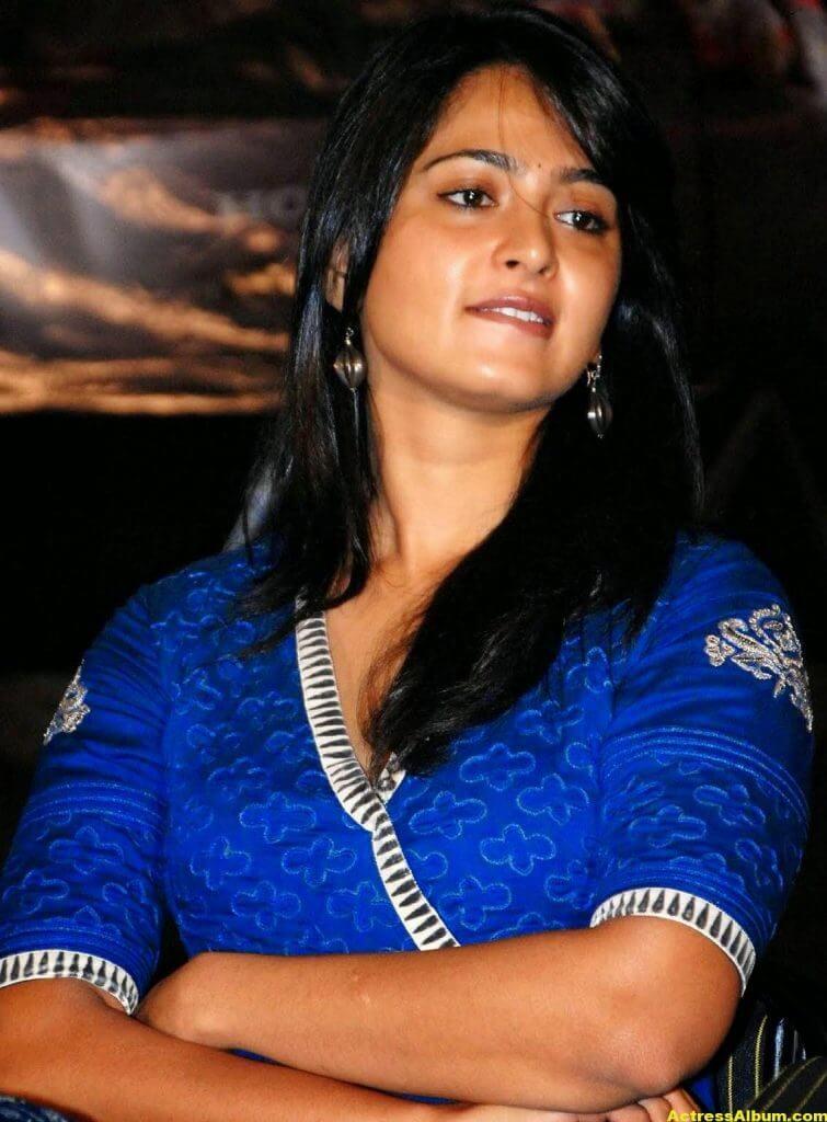 Anushka Shetty Cute Stills In Blue Dress