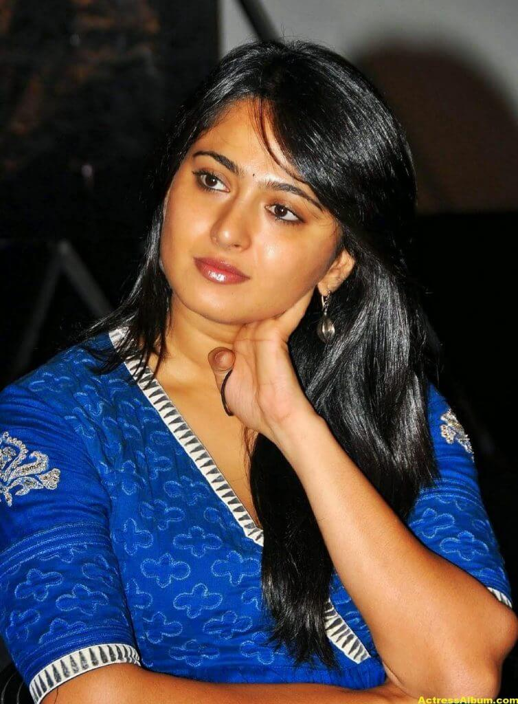Anushka Shetty Cute Stills In Blue Dress 2
