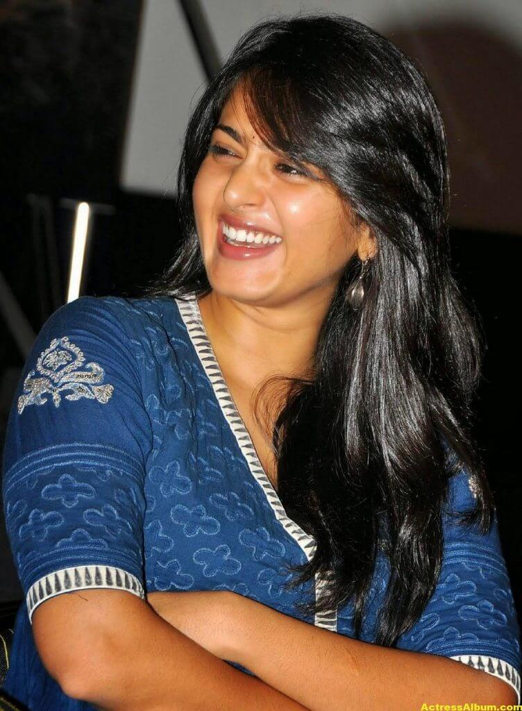 Anushka Shetty Cute Stills In Blue Dress 3