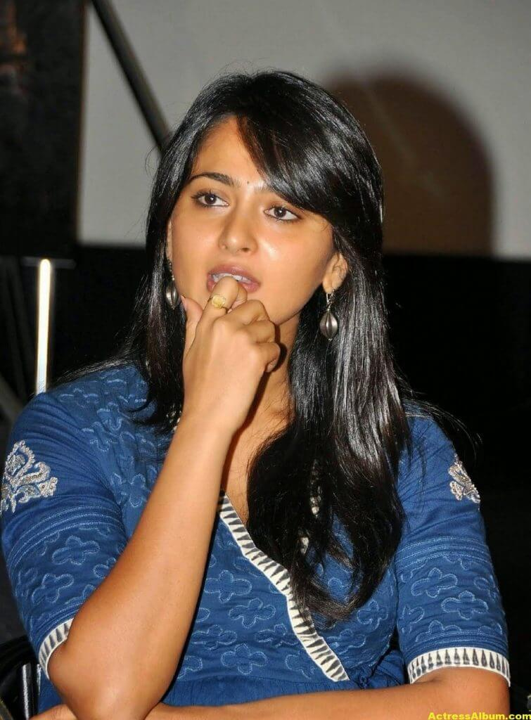 Anushka Shetty Cute Stills In Blue Dress 4