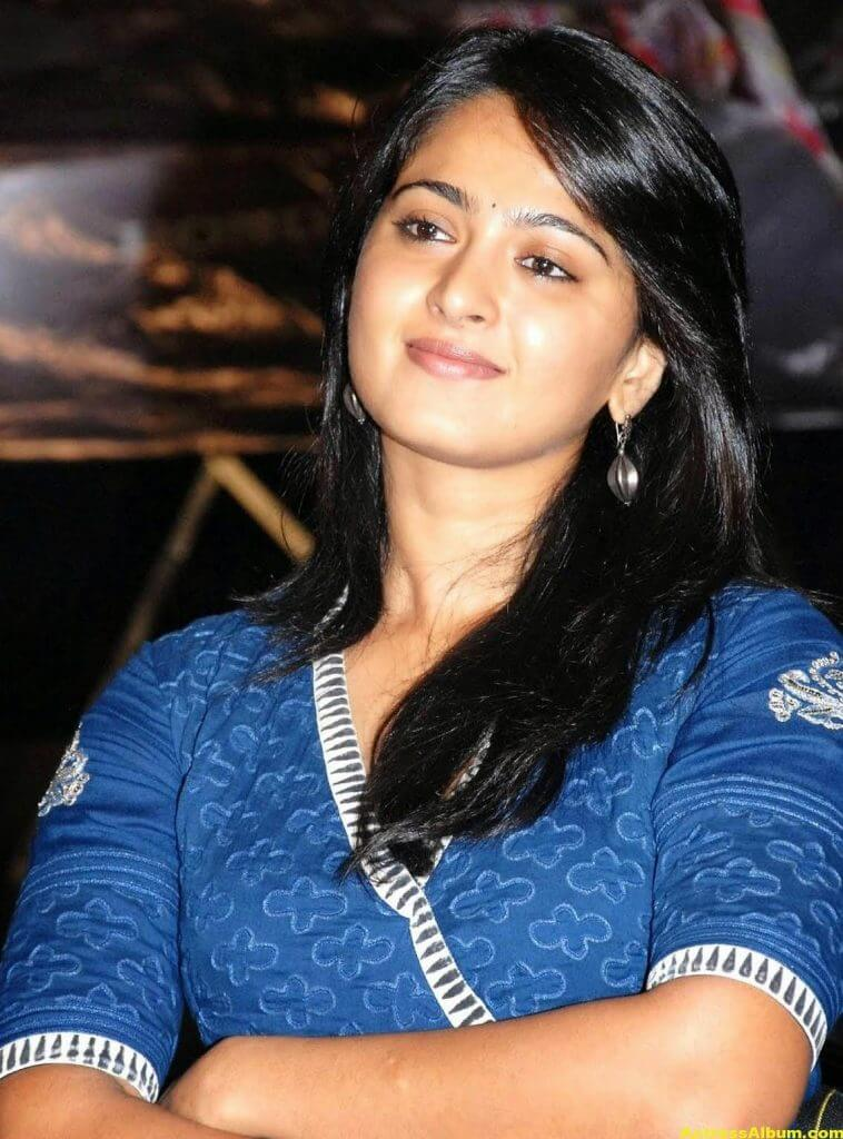 Anushka Shetty Cute Stills In Blue Dress 5