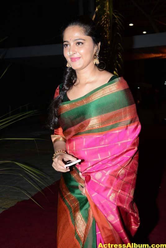 Anushka Shetty Images In Red Saree At At PVP Function 1